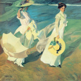 Women Walking on the Beach Print by Joaquín Sorolla y Bastida