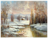 Winter Twilight Art by Helmut Glassl