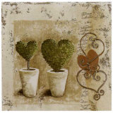 Topiaires Coeur et Pots Prints by Véronique Didier-Laurent