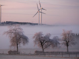 Wind Generators Stand on the Ridge of the Eifel Region Mountains Near Hallschlag, Germany Photographic Print