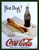 Coke and Hot Dog Tin Sign