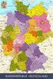 Mapa de Alemania Póster