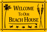 Welcome To Our Beach House Cartel de chapa