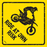 Ride At Own Risk Plaque en métal