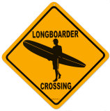 Longboarder Crossing Tin Sign