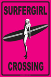 Surfergirl Crossing Tin Sign