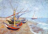 Barche da pesca sulla spiaggia di Saints-Maries, circa 1888 Arte di Vincent van Gogh
