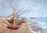 Fishing Boats on the Beach at Saints-Maries, c.1888 Art by Vincent van Gogh