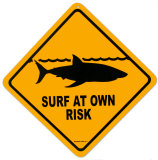 Surf At Your Own Risk Emaille bord