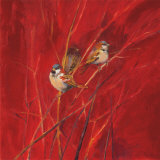 Crimson Sparrows II Poster par Ellen Granter