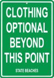 Od tego miejsca ubranie nieobowiązkowe (Clothing Optional Beyond This Point) Plakietka emaliowana