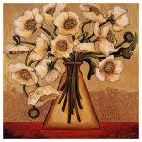 White Autumn Poppies Print by Shelly Bartek