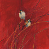 Crimson Sparrows I Prints by Ellen Granter