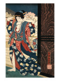 An Oiran with a Paper Kerchief in Her Mouth Advances Toward the Left Prints by Yoshitoshi Taiso