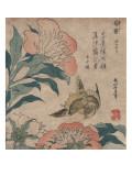 Peony and Canary, circa 1825 Affiches par Katsushika Hokusai