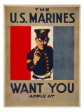 The U.S. Marines Want You, circa 1917 Posters par Charles Buckles Falls