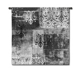 Abstract Damask Brushed Steel Square Wall Tapestry