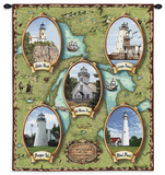 Lighthouses of the Great Lakes Wall Tapestry