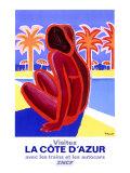 Azurkysten Giclée-tryk af Bernard Villemot