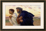 The Disciples Peter and John Running to the Sepulchre on Morning of Resurrection, circa 1898 Posters by Eugene Burnand