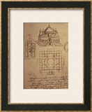 Sketch of a Square Church with Central Dome and Minaret Prints by  Leonardo da Vinci