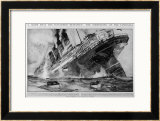 The Lusitania Sinks after Being Hit by German Torpedoes Print by Charles Dixon