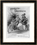 An Advertisement for Harley- Davidson Showing a Soldier Taking His Lady Friend for a Ride Posters