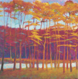 Red Trees at Creek Limited Edition by Ken Elliott