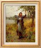Brittany Girl Framed Canvas Print by Daniel Ridgway Knight