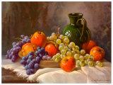 Apfel Und Weintrauben Poster par E. Kruger