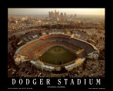 Dodger Stadium - LA Skyline at Dusk Posters by Mike Smith
