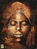 Afrikanische Frau mit halb geöffneten Augen Poster von Fabienne Arietti