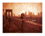 Les Amoureux de Brooklyn Bridge Poster by Rob Hefferan