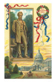 Abraham Lincoln, Statue and Capitol, Art Print