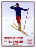 Sports d'hiver dans les Grisons Impression giclée par Walter Koch