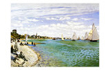 The Beach at Sainte Adresse Giclee Print by Claude Monet
