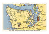 Map of Olympic Peninsula, Washington, Art Print