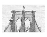 Brooklyn Bridge as a Charcoal Drawing Giclee Print by James Nesterwitz