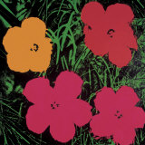 Blumen, 1964 (Rot, Pink und Gelb) Kunstdruck von Andy Warhol