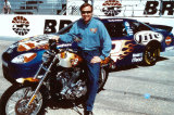 Rusty Wallace Harley Car with Rusty Sitting on Harley Photo