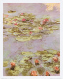 Red Water Lilies Art by Claude Monet