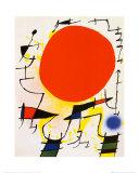 Le soleil rouge Affiches par Joan Miró