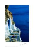 Oranges sur une table bleue Poster par Georges Meis