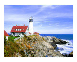 Portland Head Lighthouse & Casco Bay Giclee Print by New Yorkled