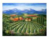 Tuscan Vineyard and Abbey Giclee Print by Marilyn Bast Dunlap