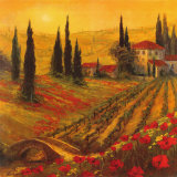 Poppies of Toscano I Posters por Art Fronckowiak