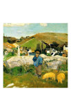 Peasants, Pigs and a Village under the Clear Sky in Brittany, France Giclee Print by Paul Gauguin