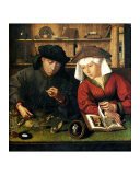 Money Changer with Wife Giclee Print by Quentin Metsys