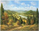 Chemin Qui Mene au Lac II Posters af Helmut Glassl