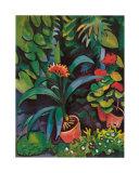 Blumen im Garten Kunstdruck von Auguste Macke